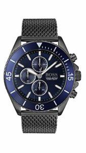 Boss 1513702 Ocean Edition Chrono Montre à quartz Gris IP et maille