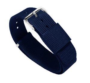 Bracelets de montre Barton– Bandes en nylon balistique, mixte, bleu marine, 20mm – Standard (10″)