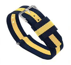 Bracelets de montre Barton– Bandes en nylon balistique, mixte, Navy/Lemon, 20mm – Standard (10″)