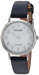 Citizen Femme 'Eco-Drive' à quartz en acier inoxydable et cuir décontractée montre, couleur: bleu (modèle: Em0570–01A)