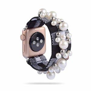 LCJDD Bande Florale élastique Compatible pour Les Bandes de Montre Apple 38 MM 40 MM 42 MM 44 MM, Bracelet de Bijoux réglable pour Femmes Filles, Bracelet de Perles de Bijoux Floraux (Color : H)