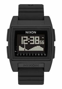 Nixon Base Tide Pro Black Men's Durable Surf Watch with Silicone Band (42mm. Black Digital Face/Black Silicone Band)