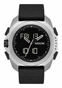 NIXON Ripley Bracelet en polyuréthane/caoutchouc/silicone 23 mm Face 33,5 mm Ripley One Size argent/noir