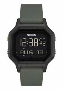 NIXON Siren SS A1211-100 mètres / 10 ATM Montre de sport numérique pour femme (cadran 36 mm, bracelet 18 mm-16 mm) Sirène SS One Size Noir / Fatigue