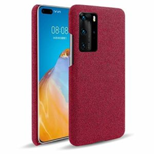 Oihxse Business Housse Case Compatible pour Huawei Enjoy Z Coque en Tissu Toile Full Protection Étui Ultra Mince Léger Anti-Slip Antichoc Antifouling Hybride Cover,Rouge