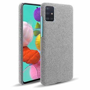 Oihxse Business Housse Case Compatible pour Samsung Galaxy A21S Coque en Tissu Toile Full Protection Étui Ultra Mince Léger Anti-Slip Antichoc Antifouling Hybride Cover,Gris