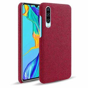 Oihxse Business Housse Case Compatible pour Xiaomi Mi 8 Lite Coque en Tissu Toile Full Protection Étui Ultra Mince Léger Anti-Slip Antichoc Antifouling Hybride Cover,Rouge