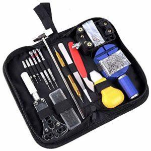 Portable 147 pièces Kit d'outils de réparation de montre avec étui de transport professionnel ouvre-aiguille de la montre Outil de retrait de la barre d'instruments