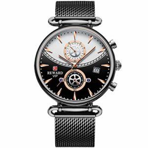 RORIOS Mode Homme Montres Chronographe Quartz Montre avec Bracelet en Mesh Acier Inoxydable Étanche Classique Montres pour Homme