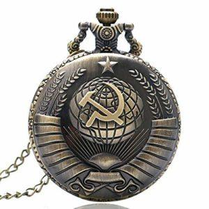 XLAHD Montre de Poche de Style Antique Faucille soviétique avec Collier chaîne de noël Cadeau pour Hommes Femmes Cadeau de noël