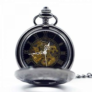 YXYOL Rétro Montre de Poche Antique, Motif numérique Bord mécanique Black Watch Steampunk Main mécanique du Vent Homme Collier Fob Montre de Poche