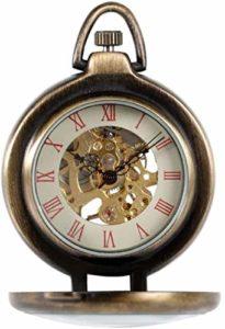 YXYOL Vintage Classique Montre de Poche, Vent Main mécanique Montre de Poche, Verre Transparent Couverture Romaine Numéros de chaîne Unisexe Pocket Watch, Red Roman littérales, Bronze